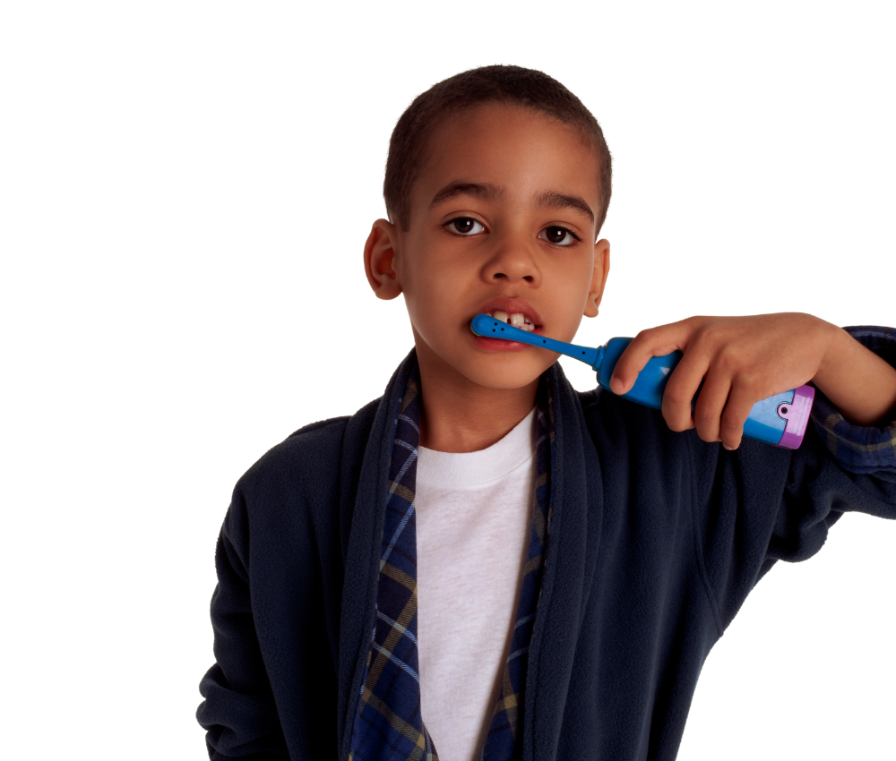 A child reluctantly brushing his teeth